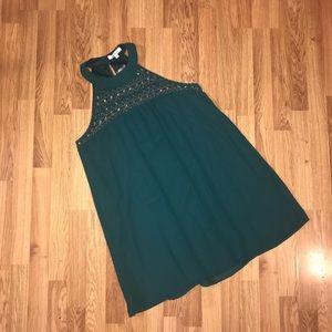Francesca's High Neck Green Beaded Holiday Dress